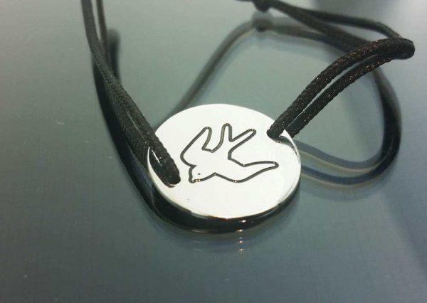 Bratara snur sintetic accesoriu argint 925 pasare