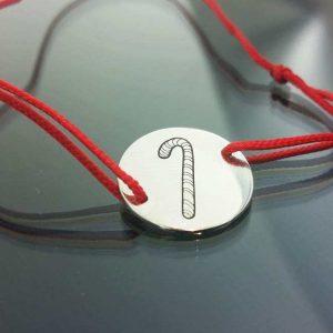 Bratara snur sintetic accesoriu argint 925 bomboana