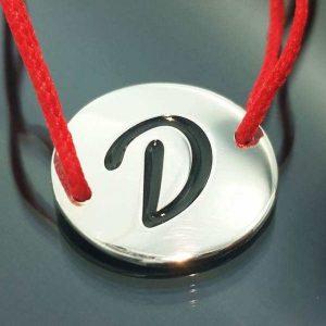 "Bratara snur sintetic accesoriu argint 925 litera ""D"""