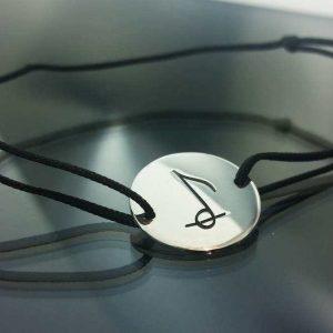 Bratara snur sintetic accesoriu argint 925 nota muzicala