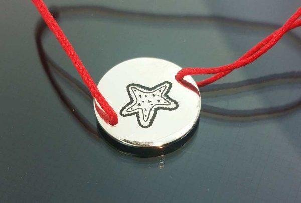Bratara snur sintetic accesoriu argint 925 stea de mare