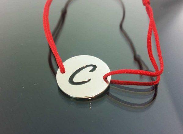 "Bratara snur sintetic accesoriu argint 925 litera ""C"""