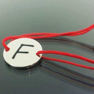 """Bratara snur sintetic accesoriu argint 925 litera """"F"""""""