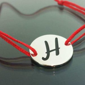 """Bratara snur sintetic accesoriu argint 925 litera """"H"""""""
