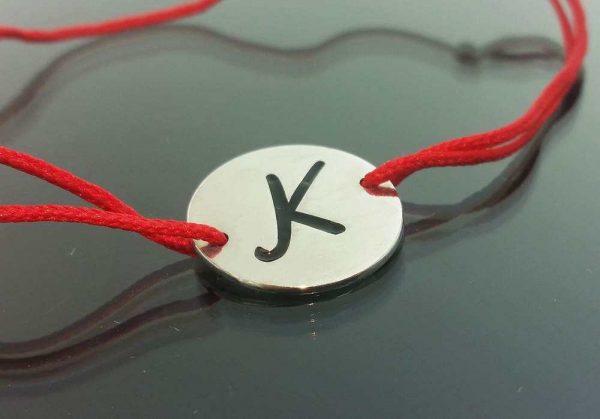 "Bratara snur sintetic accesoriu argint 925  litera ""K"""