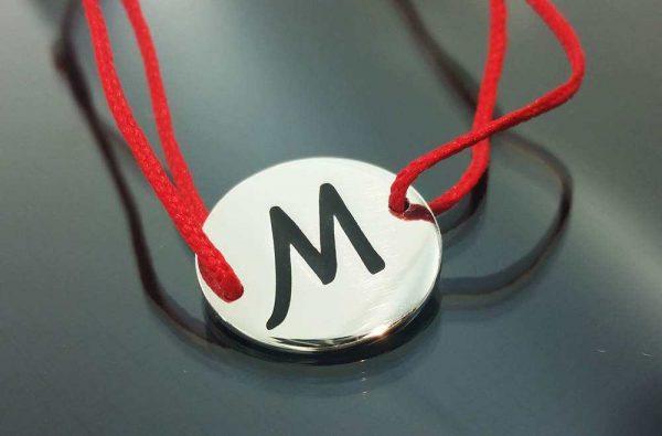 """Bratara snur sintetic accesoriu argint 925  litera """"M"""""""