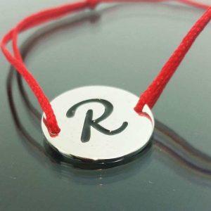 """Bratara snur sintetic accesoriu argint 925 litera """"R"""""""