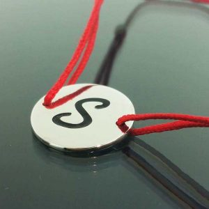 "Bratara snur sintetic accesoriu argint 925 litera ""S"""