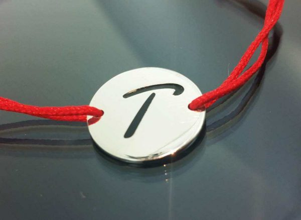 "Bratara snur sintetic accesoriu argint 925 litera ""T"""