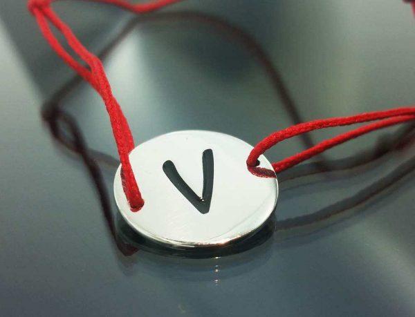 """Bratara snur sintetic accesoriu argint 925  litera """"V"""""""