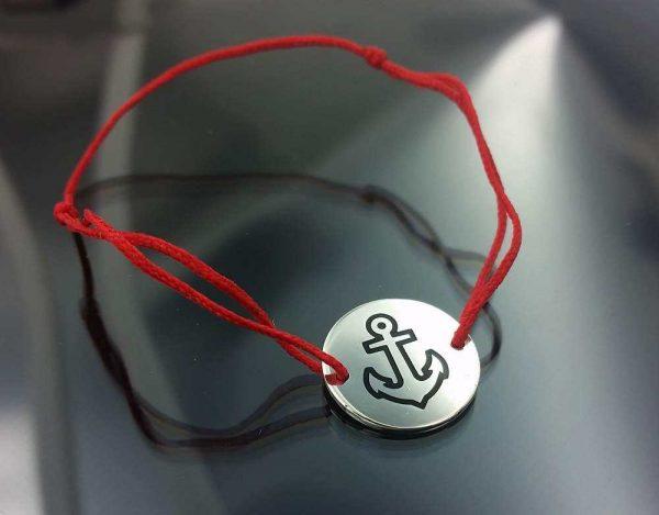 Bratara snur sintetic accesoriu argint 925 ancora