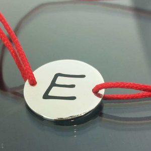 """Bratara snur sintetic accesoriu argint 925 litera """"E"""""""