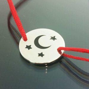 Bratara snur sintetic accesoriu argint 925 luna si stele
