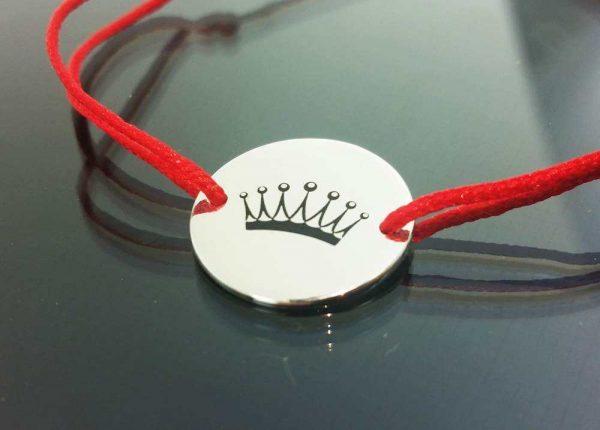 Bratara snur sintetic accesoriu argint 925 coroana