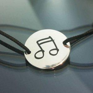 Bratara snur sintetic accesoriu argint 925 note muzicale