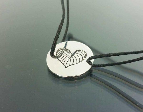Bratara snur sintetic accesoriu argint 925 inima