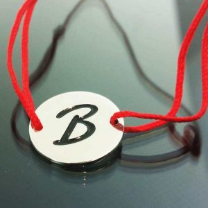 "Bratara snur sintetic accesoriu argint 925 litera ""B"""