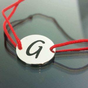 "Bratara snur sintetic accesoriu argint 925  litera ""G"""