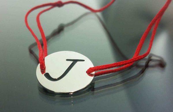 "Bratara snur sintetic accesoriu argint 925  litera  ""J"""