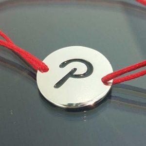 "Bratara snur sintetic accesoriu argint 925 litera ""P"""