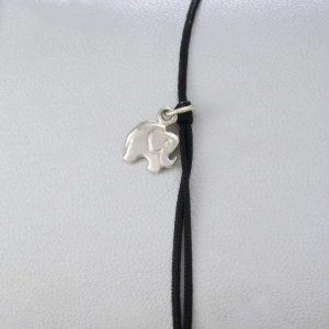 Bratara snur sintetic accesoriu argint 925 elefant