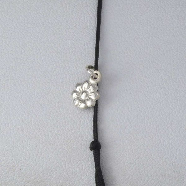 Bratara snur sintetic accesoriu argint 925 floare