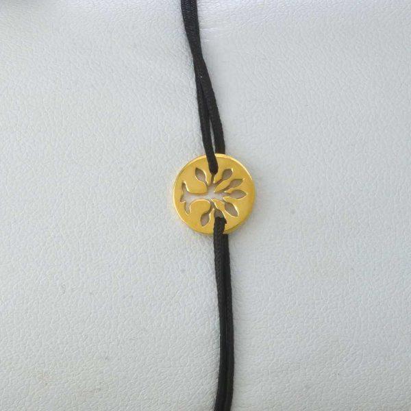 Bratara snur sintetic accesoriu argint 925/ aurit copacul vietii