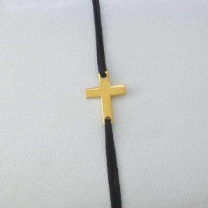 Bratara snur sintetic accesoriu argint 925/ aurit cruce
