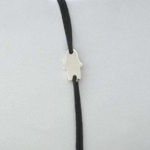 Bratara snur sintetic accesoriu argint 925 hamsa