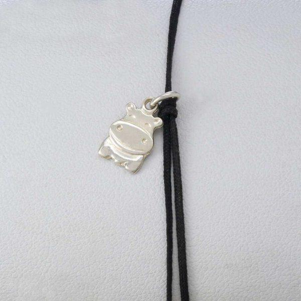 Bratara snur sintetic accesoriu argint 925 hipopotam