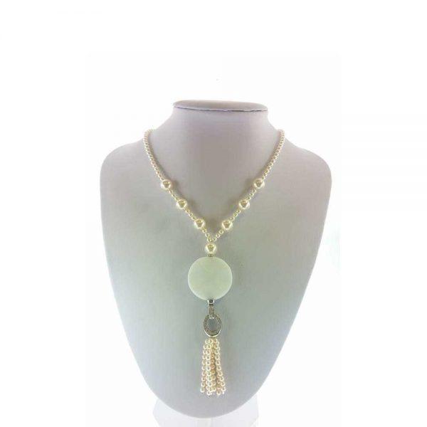 Colier cu pietre agate si perle