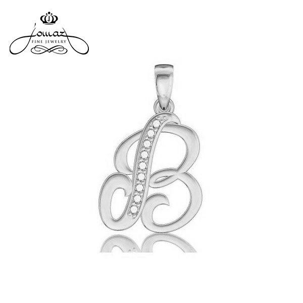 """Pandantiv din argint 925 litera """"B"""" cu pietre zirconiu / P10.7"""