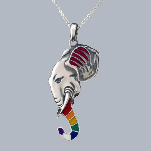 Pandantiv elefant cu trompa cu email din argint 925 / disponibil la comanda