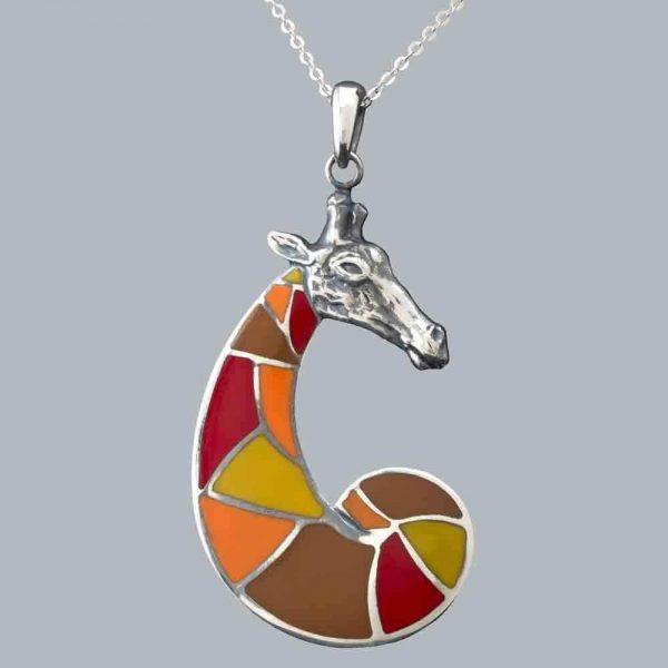 Pandantiv girafa cu email din argint 925 / P101.1