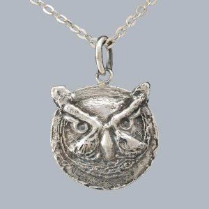 Pandantiv cap de bufnita patinata din argint 925 / P108.3
