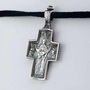 Pandantiv cruce mica Isus si Maica Domnului patinat din argint 925 / P125.3