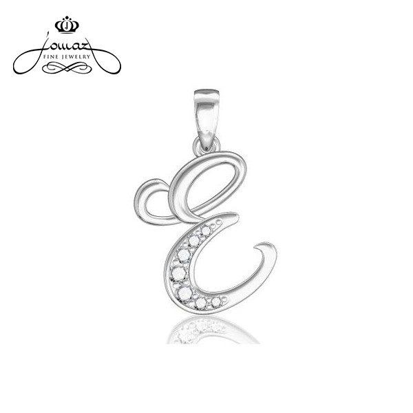 """Pandantiv din argint 925 litera """"E"""" cu pietre zirconiu / P13.7"""