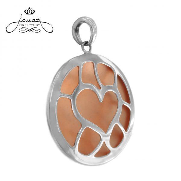 Pandantiv inima mare cu nanoceramica din argint 925 / P132