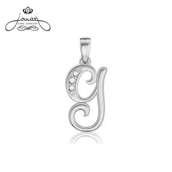 """Pandantiv din argint 925 litera """"G"""" cu pietre zirconiu / P15.7"""