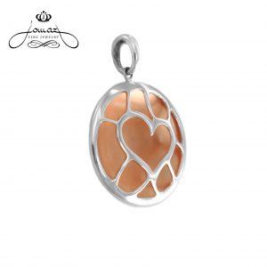Pandantiv inima mica cu nanoceranica din argint 925 / P136