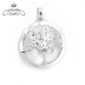 Pandantiv copacul vietii mare cu pietre zirconiu din argint 925 / P156.7