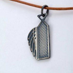 Pandant argint 925, Mosulet aripa-adina, patinat