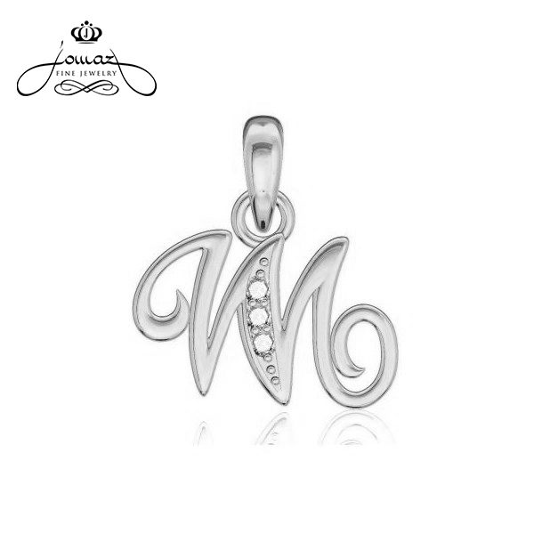 """Pandantiv din argint 925 litera """"M"""" cu pietre zirconiu / P20.7"""
