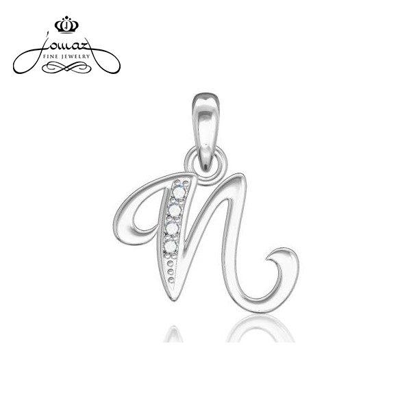 """Pandantiv din argint 925 litera """"N"""" cu pietre zirconiu / P21.7"""