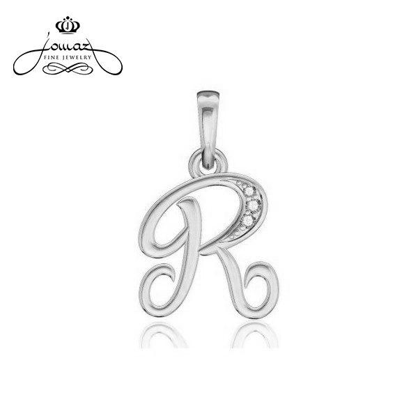 """Pandantiv din argint 925 litera """"R"""" cu pietre zirconiu / P24.7"""