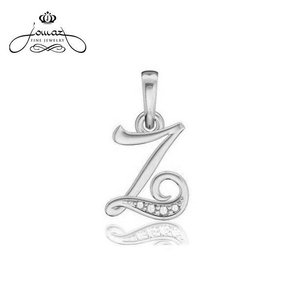 """Pandantiv din argint 925 litera """"Z"""" cu pietre zirconiu / P34.7"""