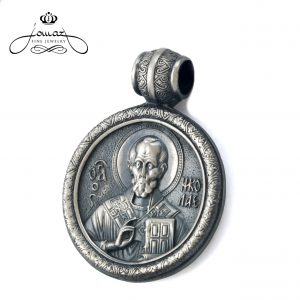 Pandantiv religios Sf. Nicolae,rotund ,patinat din argint 925 / P35.3