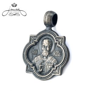 Pandantiv religios Sf. Nicolae cu colturi,patinat din argint 925 / P36.3