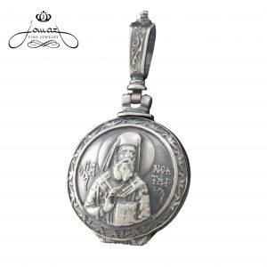 Pandantiv religios cutiuta Sf. Nectarie patinat din argint 925 / P40.3