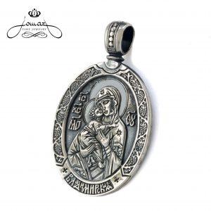 Pandantiv oval cu Maica Domului,patinat din argint 925 / P43.3